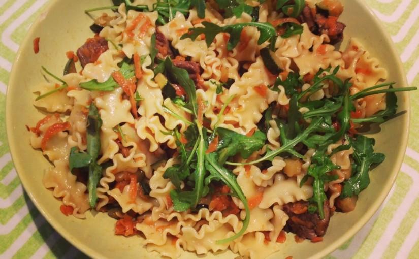 [RECETA] Filetto di manzo e rucola (receta italiana de pasta con ternera y verduras
